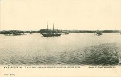 U.S.S. HARTFORD AND OTHER WAR SHIPS IN SEVERN RIVER