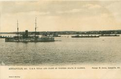 U.S.S. TEXAS AND FLEET OF TORPEDO BOATS IN HARBOUR