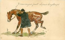 JE VOUS CROYAIS PARTI DEPUIS LONGTEMPS  huntsman attempts to mount difficult horse