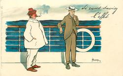 SI VOUS SAVIEZ L'EFFET  fat man smoking cigar on deck observes sea-sick thin man