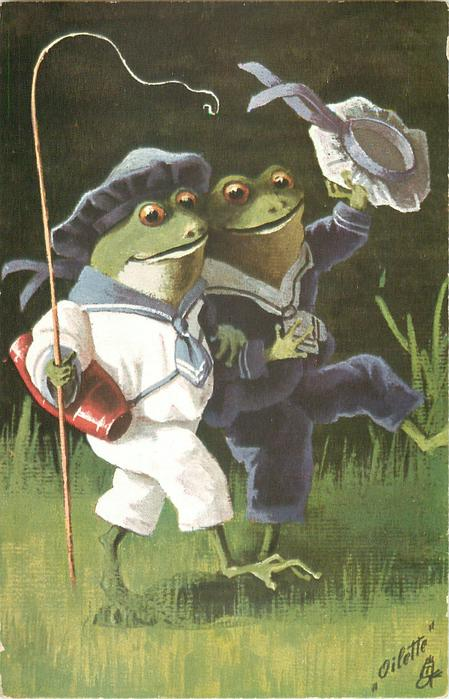 AUF IN DIE FERIEN  two dressed frogs walk right