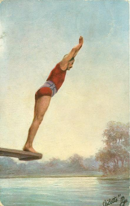 man about to dive off board