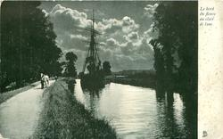 LE BORD DU FLEUVE AU CLAIR DE LUNE, sailing ship, sails furled, on canal,  pulled by horse on path