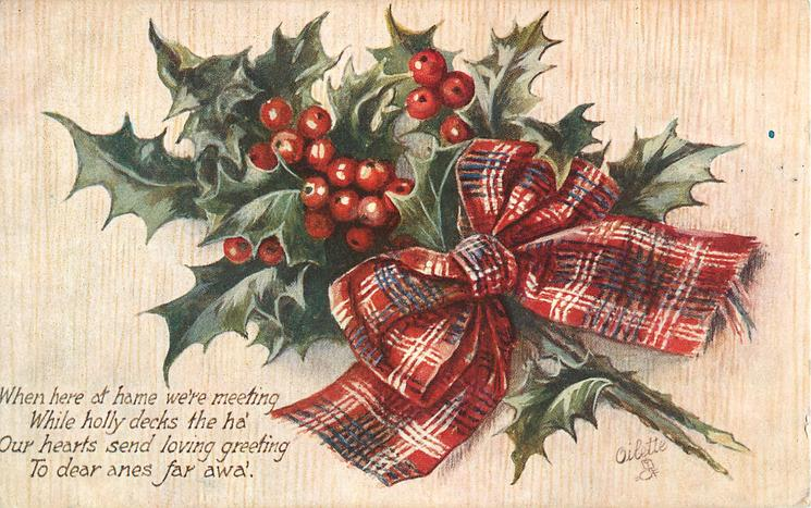 holly, stalks lower right, red tartan bow
