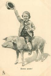 child rides pig, flowers in left hand, waves hat