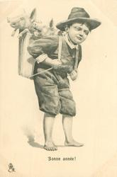 boy carries two pigs in carrier on his back