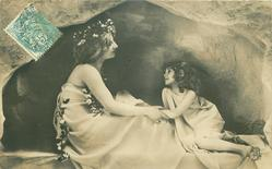 mother seated facing right, child kneels facing her, mother holds child's arm, they look into each others eyes