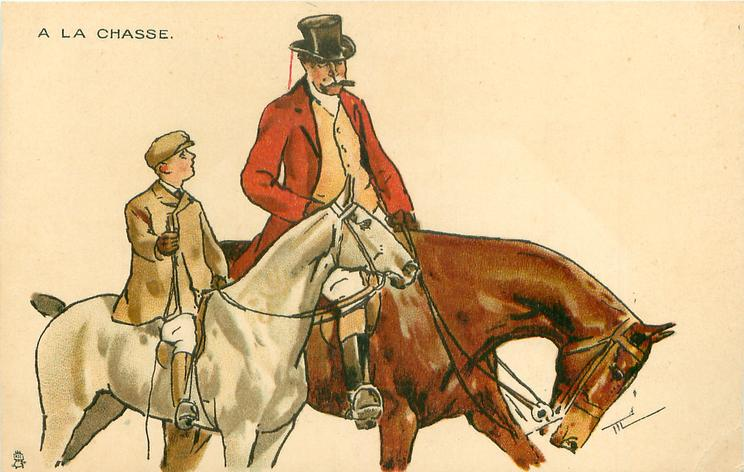 moustached man in hunting attire rides brown horse, facing right, boy on smaller white hose at his side