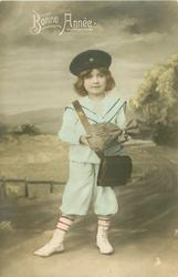 young girl dressed as postman carries bag of money