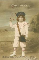 young girl dressed as postman holds up large sealed envelope in her right hand