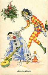 Pierrot dozes on ground under mistletoe, guitar in lap, Pierette offers him a rose to smell, bottle in hand