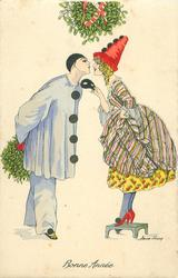 Pierrot left holding mistletoe behind his back, Pierette stands on stool to kiss him, mistletoe above