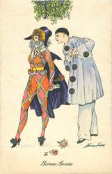 Pierrot right & Pierette left stand under mistletoe, two roses on ground & another in her hand