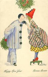 Pierrot about to kiss Pierrette who is standing on stool under mistletoe