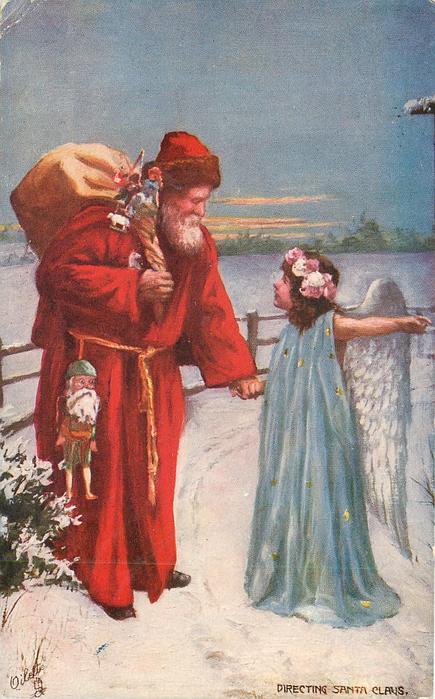 Directing santa claus angel