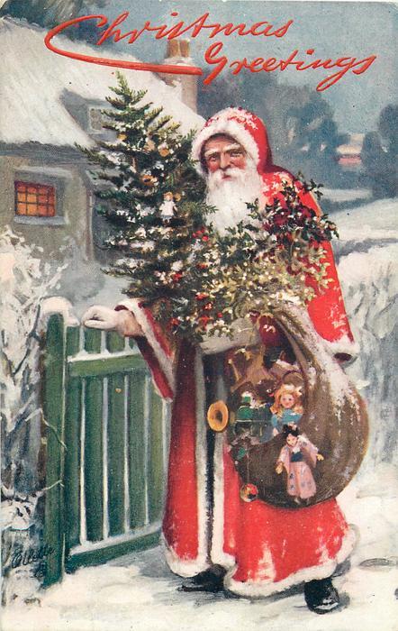Sack Of Toys For Christmas : Christmas greetings santa carrying sack of toys tree