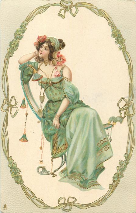 seated woman in oval, facing front looking left, gilt, green nouveau forget-me-not frame, grey surround