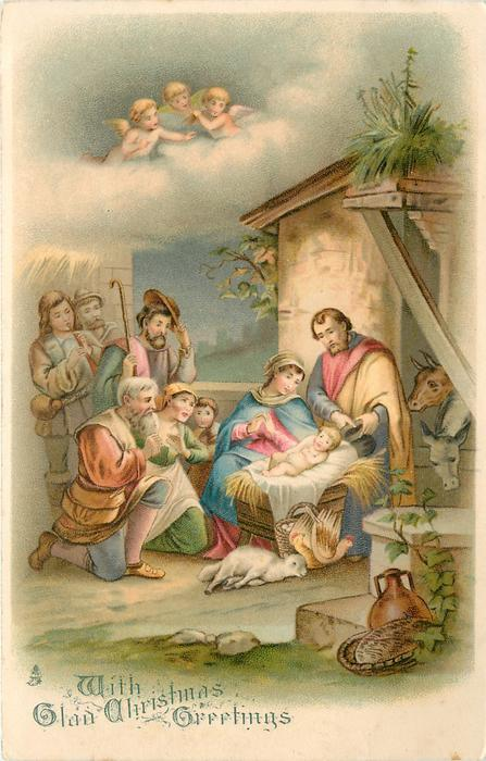 Greetings adoration of jesus at the stable three angels high above