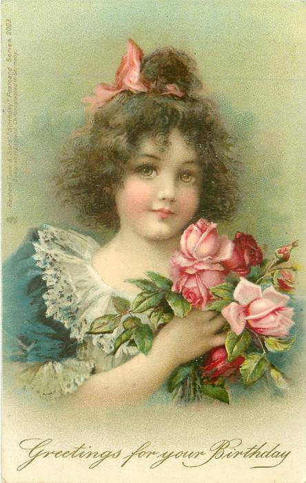 GREETINGS FOR YOUR BIRTHDAY  girl with pink bow in her hair, blue lace-trimmed dress, holding roses