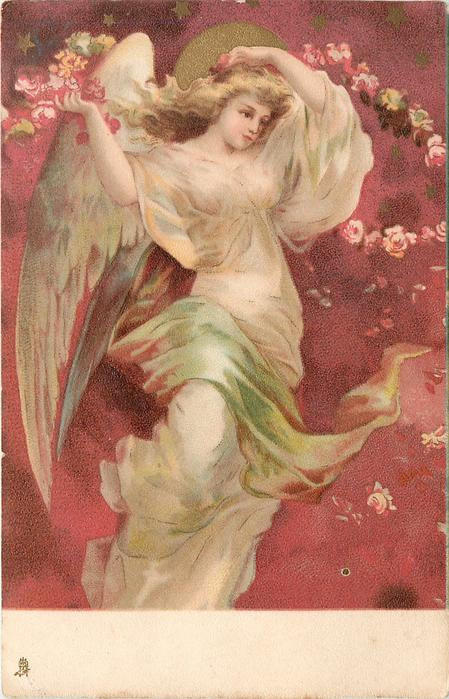 angel with flowers in right hand, left hand touches her hair