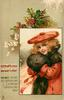 CHRISTMAS GREETINGS inset girl in red outfit and brown muff